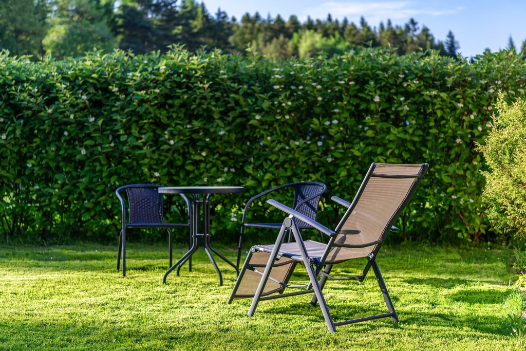 sun lounger in garden with hedges